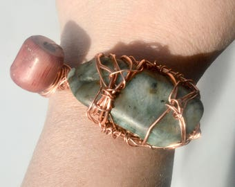 Red Natural Pitted Coral Untreated Genuine Emerald Healing EMF Energy Dystopian Rustic Copper Cuff Bracelet Wire Wrapped  Handmade Wiccan