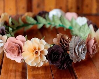 Ivory Brown Champagne  Flower Crown, Boho Crown, Wedding Crown, Flower Girl Crown, Birthday Crown, Paper Headdress, Wooden Flowers Crown