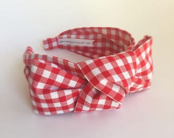 Headbands for women red Gingham headband Women's Fabric Headband side knot topknot bow   . Adult headband woman Woman . Head band