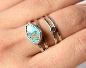 Ready bro ship - stacking ring set of four ~ Kingman turquoise sets in sterling silver rings