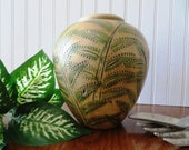 Tropical, Earthy Vase Carved and Painted Terra Cotta