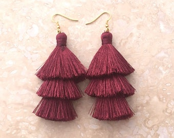 Zara Tawny Port Tassel Earrings, Long Tassle Earrings,Burgundy Tassel Earrings,Earrings Handmade, Gift for Women, Birthday Gift, Friend Gift
