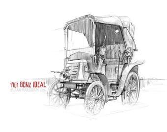 1901 Benz Ideal - Original A3 Pencil Sketch