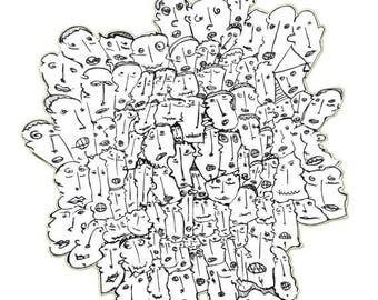 Social network, 99heads  (Art print) A4  , Black and White