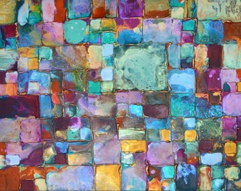 Mosaic art Original Art by Caroline Ashwood - Textured and contemporary abstract painting on canvas - Free Shipping