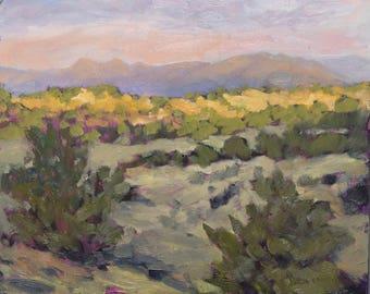 Sunrise Illuminates the Near Ridge - Galisteo Basin - New Mexico - Original Oil Landscape Painting