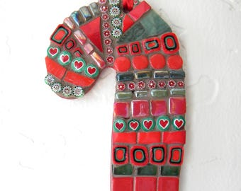 Candy Cane Mosaic Ornament, Christmas Ornament, Red and Green, Christmas Candy Cane, Traditional, Hostess Gift, Teacher Gift