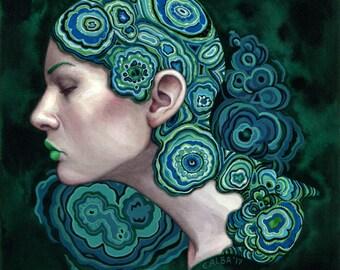 Malachite Portrait Illustration 8x8