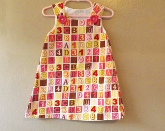 Girls ABC Alphabet PINK Corduroy Novelty Dress Numbers 123 Jumper Handmade Blocks Squares Dresses Kids Toddler Dress 2 2T 24M