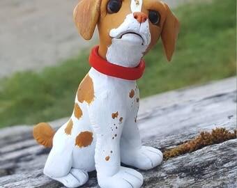 Polymer clay Brittany dog
