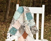 Baby Rag Quilt- Ready to ship quilt, mint rag quilt, dear rag quilt, fox rag quilt, forest rag quilt, owl rag quilt, baby boy rag quilt