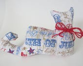 4th of July Cat, Americana Decor, Kitty Cat, Shelf Sitter, Red, White and Blue Cat, Pillow Tuck, Reversible Cat Pillow, Independence Day