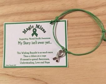 Green Mental Health Awareness Bracelet, Wish for Hope, Love and Understanding