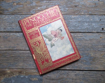 Pinocchio, Antique Book, Children's Book, Illustrated Children's Book, Classic Literature, Carlo Collodi, Charles Folkard