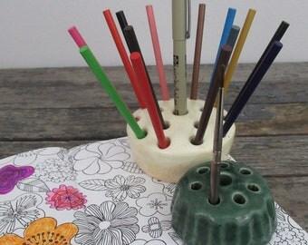 Vintage Flower Frogs, Stoneware Flower Frogs, Pottery Flower Frogs, Ceramic Flower Frogs, Pencil Holder, Paint Brush Holder, Ikebana