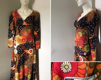 Vintage maxi dress nylon dress tight fitting psychedelic print empire waist slinky XS long gown hippie boho disco Miami Jack Hartley