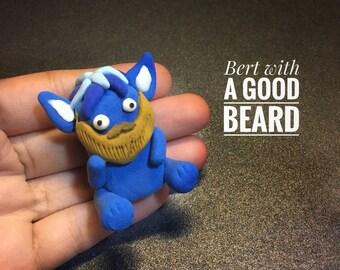 Chummster, beard love, beard gift, little monster, monster theme favour, i love beards, polymer clay monster, polymer clay charm