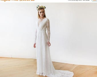 25% OFF Ivory Wrap Floral Lace Long Sleeve Gown with a Train 1151