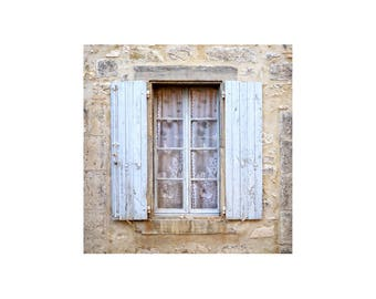 White Shutters Photo, Rustic Decor, Lace Curtains, French Window, Weathered Shutters, White on White