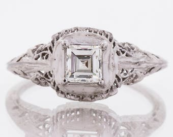 Antique Engagement Ring - Antique Edwardian 18k White Gold Square Diamond Engagement Ring