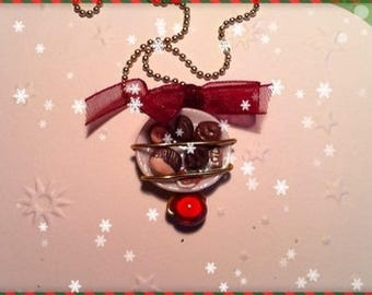Chocolate Christmas ref 47 plate pendant necklace