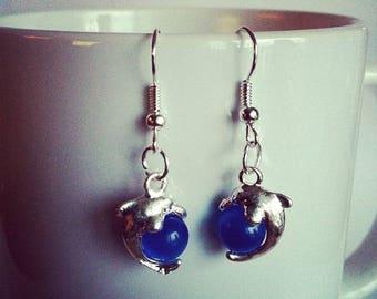 Dolphin blue glass beads earrings