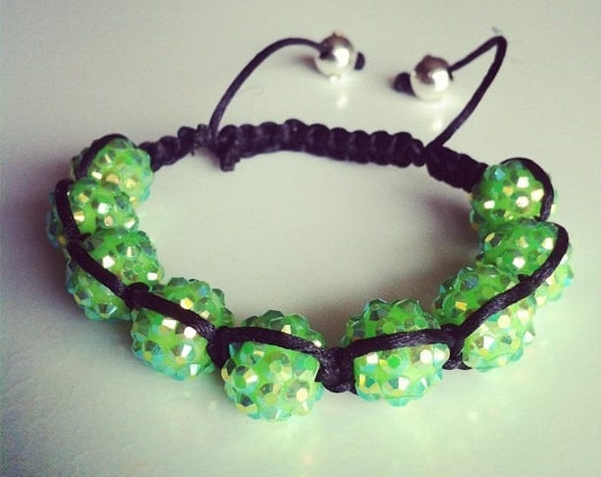 #33 green adjustable Shamballa bracelet