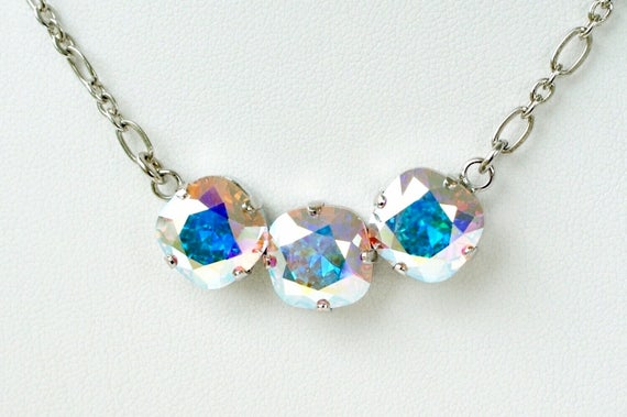 Swarovski Crystal Necklace 12MM Cushion Cut - Three Crystal Necklace Designer Inspired - Aurora Borealis Sparkle & Shimmer - FREE SHIPPING