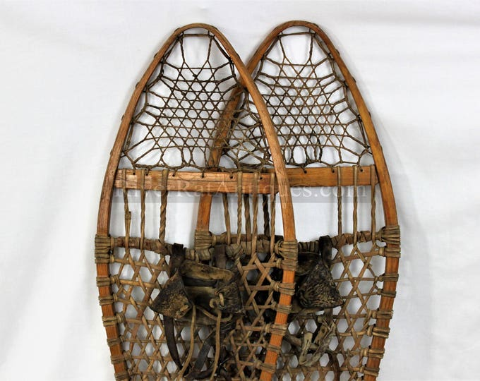 "Antique 1920s  48"" Wood Snowshoes, Wood Snowshoes 14 x 48"