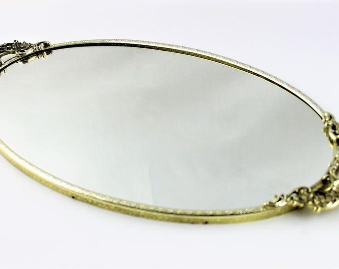 Vintage 1960s Oval Vanity Mirror Tray, Goldtone