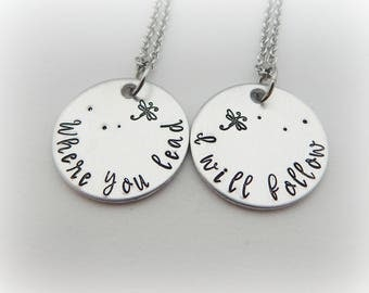 Where you lead I will follow - Mother Daughter Jewelry - Best Friends Stamped Necklace - Gift for BFF - Mother's Day - Pop Culture - kg3