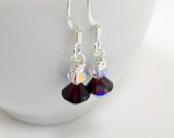 Simple Swarovski Crystal Earrings - Silver Swarovski Crystal Earrings