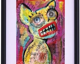 Outsider Art Print Framed -  Limited edition 5/30 - Art Brut - Primitive art  - Love My Cat Forever