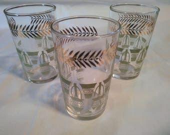 Vintage Set of Three Orange Juice Glasses - Juice Glasses - Federal Glass Juice Glasses