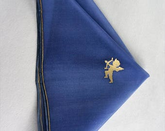 Blue pocket square, cupid handkerchief, small gift idea, hank hand drawn, hankie handmade - ready to ship