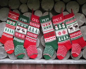 Set of 6 Christmas stockings Personalized Wool Hand knit Red Green Gray White Gnomes Santa Deer Snowflakes Snowmen ornaments