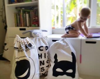 HERO storage -Kids cotton Storage bag-Washing  bag, Sack-Nursery- black white- eco fabric-kids room decoration- nordic style