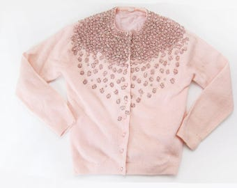 1950s Beaded Cardigan - vintage 50s womens cardigan sweater - sequined vintage cardigan - pale pink pastel sweater - embellished cardigan XS