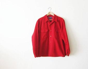 Vintage Pendleton Shirt - Red Pendleton Mens Shirt Large - Pendleton Wool Shirt - 1960s Pendleton Shirt - Camp Shirt - Workwear loop collar