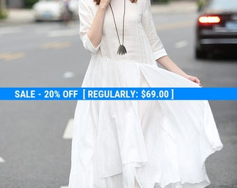 20% OFF Maxi Cotton Dress In White, White Evening Dress, White Dress, Flared Dress, Cocktail Dress In White, Party Dress, Formal Dress,