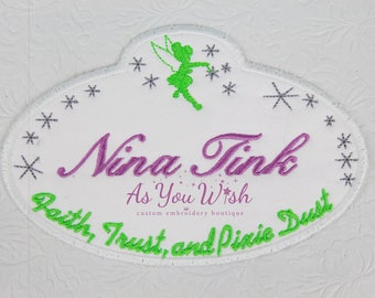 custom Tinkerbell faith trust pixie dust land or world name tag iron/sew on patch