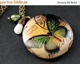SUMMER SALE Green Butterfly Locket Necklace. Butterfly Necklace with White Coral Teardrop and Green Fresh Water Pearl. Handmade Jewelry.