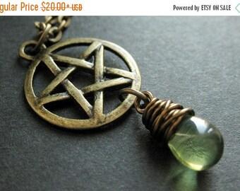 VALENTINE SALE Pagan Necklace. Bronze Pentacle Necklace. Green Necklace. Teardrop Necklace. Handmade Jewelry.