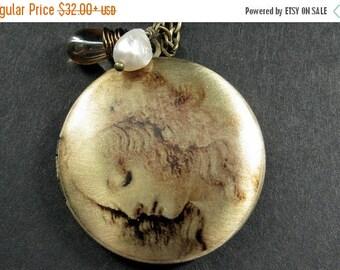 VALENTINE SALE Leonardo DaVinci Locket Necklace. Renaissance Woman Necklace with Teardrop and Pearl. Handmade Jewelry.