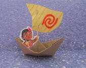 Baby Moana Party Birthday Boat Water Sign Spiral Paper Boat Sailboat Moana Die Cut Cupcake Cake Topper