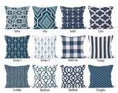 Navy Pillow Cover, Decorative Throw Pillow Covers, Euro Pillow Sham 16 x 16, 18 x 18, 20 x 20, 22 x 22, 24 x 24, 26 x 26