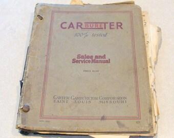 Rare Carter Carburetor Sales and Service Personalized Corrospondance/Instruction Course, 1940 - 1941
