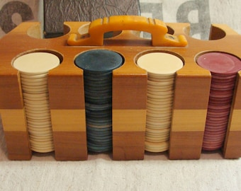 Vintage Art Deco Poker Chip Caddy, Gorgeous Yellow Bakelite Handle, Mostly Clay Chips, Some Cardboard Chips