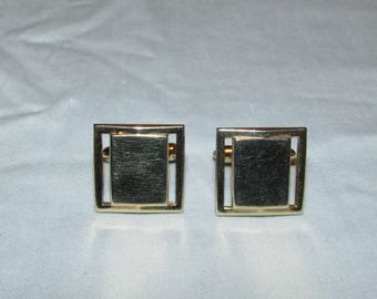vintage swank cufflinks gold tone 3/4 inch square