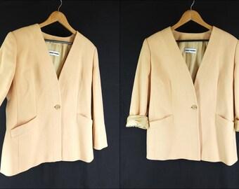 Vintage 1980s Boxy Cashmere Blazer Jacket in Cream Yellow - Size 16UK 12US